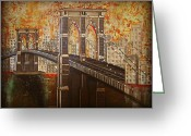 Brooklyn Bridge Mixed Media Greeting Cards - Brooklyn Bridge ll Greeting Card by Barbie Guitard