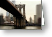 "City Life Greeting Cards - Brooklyn Bridge, New York City Greeting Card by Photography by Steve Kelley aka ""mudpig"""