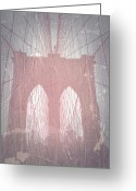 Old Photo Greeting Cards - Brooklyn Bridge Red Greeting Card by Irina  March