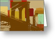 Brooklyn Bridge Mixed Media Greeting Cards - Brooklyn Bridge  Greeting Card by Art Yashna