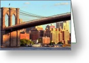 Bridge Greeting Cards - Brooklyn Greeting Card by Mitch Cat
