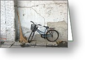 Old Street Greeting Cards - Broom and Bike Greeting Card by Glennis Siverson