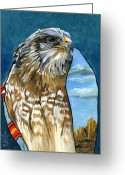 Spirit Hawk Art Greeting Cards - Brother Hawk Greeting Card by J W Baker