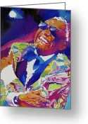 Featured Greeting Cards - Brother Ray Charles Greeting Card by David Lloyd Glover