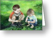 Kid Painting Greeting Cards - Brothers Greeting Card by Michelle Sheppard