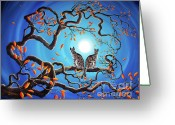 Gray Tabby Greeting Cards - Brothers Under a Blue Moon Greeting Card by Laura Iverson
