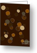 Round Mixed Media Greeting Cards - Brown Abstract Greeting Card by Frank Tschakert