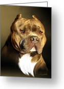 Pit Bull Greeting Cards - Brown and White Pit Bull by Spano Greeting Card by Michael Spano