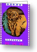 Log Cabins Mixed Media Greeting Cards - Brown Bear In My Cabin Greeting Card by Robert Margetts