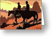 Bloomfield Greeting Cards - Brown Cowboys Greeting Card by Randy Follis