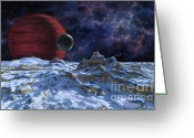 Extrasolar Planet Greeting Cards - Brown Dwarf with Planet and Moon Greeting Card by Lynette Cook