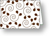 Abstract Design Drawings Greeting Cards - Brown Floral Greeting Card by Frank Tschakert