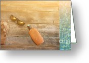 Fun Greeting Cards - Brown sandels on withered wood  Greeting Card by Sandra Cunningham