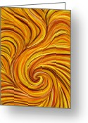 Expressive Pastels Greeting Cards - Brown Swirl Greeting Card by Hakon Soreide
