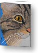 Eye Reliefs Greeting Cards - Brown Tabby Cat Sculpture Greeting Card by Valerie  Evanson