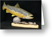 Spring Sculpture Greeting Cards - Brown Trout 14 inch Greeting Card by Eric Knowlton