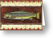 Lodge Greeting Cards - Brown Trout Lodge Greeting Card by JQ Licensing