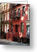 Greenwich Greeting Cards - Brownstone Greeting Card by John Rizzuto