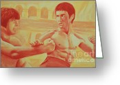 Bruce Lee Greeting Cards - Bruce and Chuck Greeting Card by Derek Donnelly