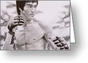 Bruce Lee Greeting Cards - Bruce Lee - Enter The Dragon Greeting Card by Mike OConnell