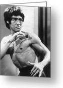 Portrait Artist Photo Greeting Cards - Bruce Lee (1940-1973) Greeting Card by Granger