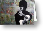 Star Greeting Cards - Bruce Lee Greeting Card by Ryan Jones