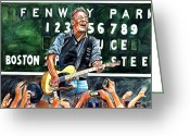 Red Sox Baseball Greeting Cards - Bruce Springsteen at Fenway Park Greeting Card by Dave Olsen