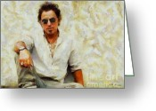 Bruce Springsteen Painting Greeting Cards - Bruce Springsteen Greeting Card by Elizabeth Coats
