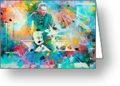 Celebrities Painting Greeting Cards - Bruce Springsteen  Greeting Card by Rosalina Atanasova
