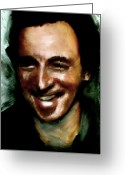 The Boss Painting Greeting Cards - Bruce Springsteen The Boss Greeting Card by FeatherStone Studio Julie A Miller