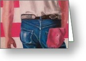 Usa Flag Pastels Greeting Cards - Bruce Springsteens Butt Greeting Card by Linda Bryant