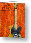 Fender Esquire Greeting Cards - Bruce Springsteens Fender Esquire Greeting Card by Karl Haglund