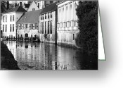 Medieval Architecture Greeting Cards - Bruges Canal Scene III Greeting Card by John Rizzuto