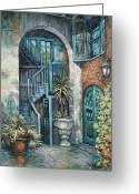 Scenes Greeting Cards - Brulatour Courtyard Greeting Card by Dianne Parks