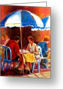 Montreal Hockey Art Greeting Cards - Brunch At The Ritz Greeting Card by Carole Spandau