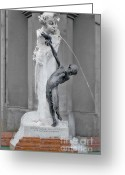 Icy Greeting Cards - Brunnenbuberl - Boy at the fountain -  Munich Germany Greeting Card by Christine Till