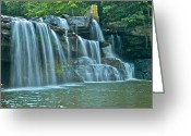 Swimming Hole Greeting Cards - Brush Creek Falls 3845 Greeting Card by Michael Peychich