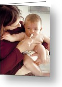 Brushing Greeting Cards - Brushing Babys Teeth Greeting Card by Ian Boddy