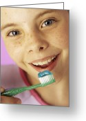 Brushing Greeting Cards - Brushing Teeth Greeting Card by Ian Boddy