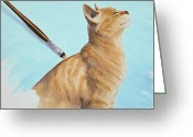 Feline Painting Greeting Cards - Brushing the Cat Greeting Card by Crista Forest