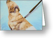 Yellow Dog Greeting Cards - Brushing the Dog Greeting Card by Crista Forest