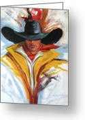 Rope Greeting Cards - Brushstroke Cowboy Greeting Card by Lance Headlee