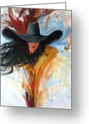 Cowgirl Greeting Cards - Brushstroke Cowgirl Greeting Card by Lance Headlee