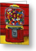 Debbie Brown Greeting Cards - Bubble Gum Bank Greeting Card by Debbie Brown