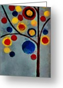 Abstract Realism Painting Greeting Cards - Bubble Tree - dps02c02f - Left Greeting Card by Variance Collections