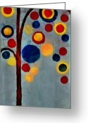 Abstract Realism Painting Greeting Cards - Bubble Tree - dps02c02f - Right Greeting Card by Variance Collections
