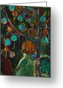 Abstract Realism Painting Greeting Cards - Bubble Tree - spc01ct04 - Left Greeting Card by Variance Collections