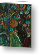 Abstract Realism Painting Greeting Cards - Bubble Tree - spc01ct04 - Right Greeting Card by Variance Collections
