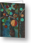 Red Abstract Greeting Cards - Bubble Tree - spc02bt05 - Left Greeting Card by Variance Collections
