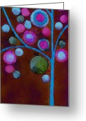 Neon Art Greeting Cards - Bubble Tree - w02d - Left Greeting Card by Variance Collections